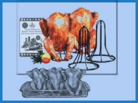 Image: The Spanek Vertical Game Hen Roaster (Set of Two, Chrome)